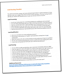 , Lead Routing Checklist
